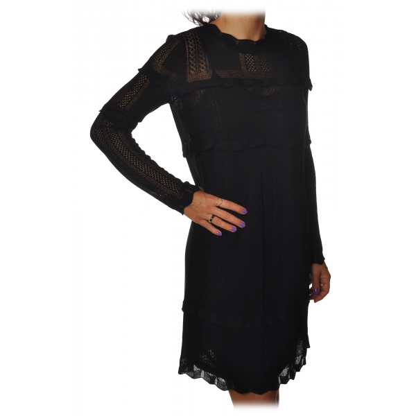 Twinset - Crew-neck Dress in Perforated Processing - Black - Dress - Made in Italy - Luxury Exclusive Collection