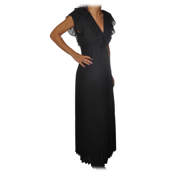 Twinset - Long Pleated Dress with Ribbon - Black - Dress - Made in Italy - Luxury Exclusive Collection