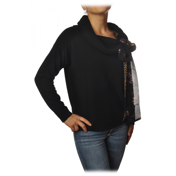 Twinset - High Ring Neck Sweater with Ribbon - Black - Knitwear - Made in Italy - Luxury Exclusive Collection