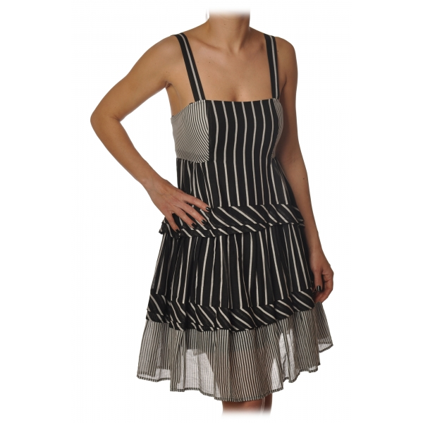 Twinset - Striped Flounced Dress with Thin Straps - Black/White - Dress - Made in Italy - Luxury Exclusive Collection