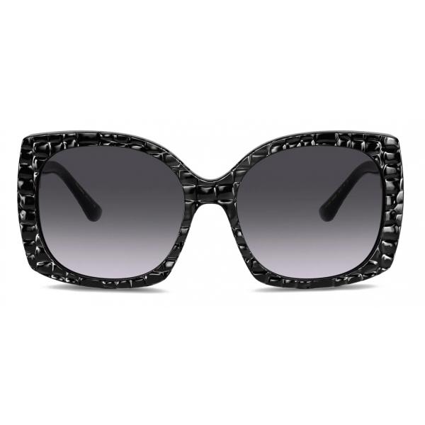 Dolce & Gabbana - Occhiale da Sole Print Family - Nero Effetto Coccodrillo - Dolce & Gabbana Eyewear