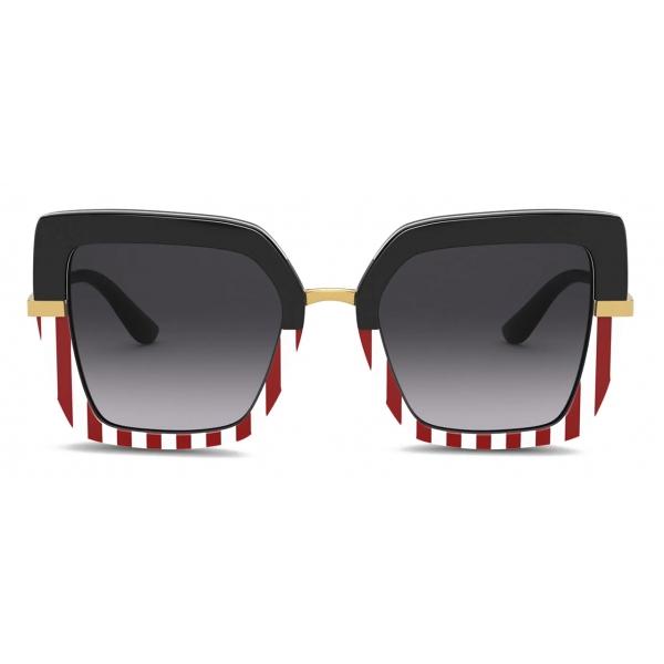 Dolce & Gabbana - Half Print Sunglasses - White Red - Dolce & Gabbana Eyewear