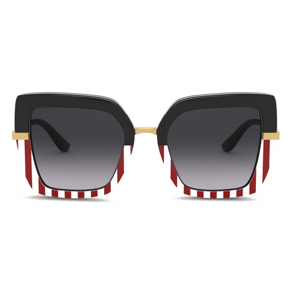 Dolce & Gabbana - Occhiale da Sole Half Print - Bianco Rosso - Dolce & Gabbana Eyewear