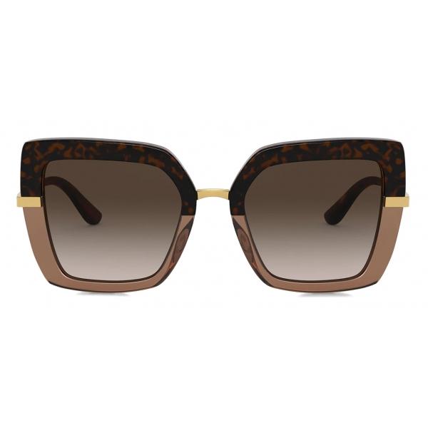 Dolce & Gabbana - Occhiale da Sole Half Print - Avana - Dolce & Gabbana Eyewear