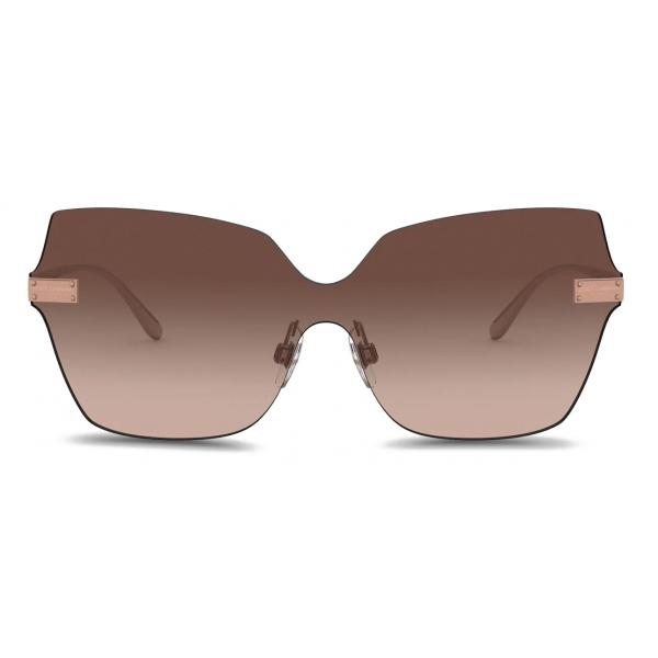 Dolce & Gabbana - Occhiale da Sole Logo Plaque - Oro Rosa - Dolce & Gabbana Eyewear
