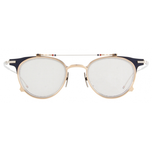 Thom Browne - Matte Navy and White Gold Clubmaster Shaped Sunglasses - Thom Browne Eyewear