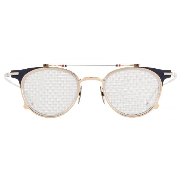 Thom Browne - Occhiali da Sole Forma di Clubmaster Blu Scuro e Oro Bianco - Thom Browne Eyewear