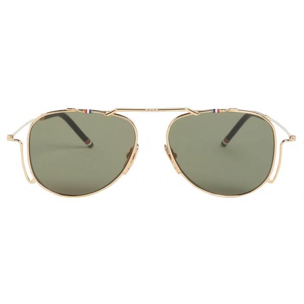 Thom Browne - Occhiali da Sole Aviator Classici in Oro Bianco - Thom Browne Eyewear