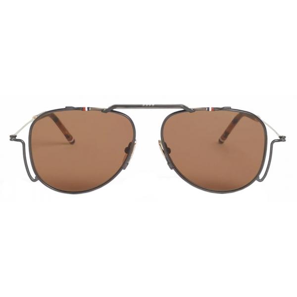 Thom Browne - Occhiali da Sole Aviator Classici in Ferro Nero - Thom Browne Eyewear