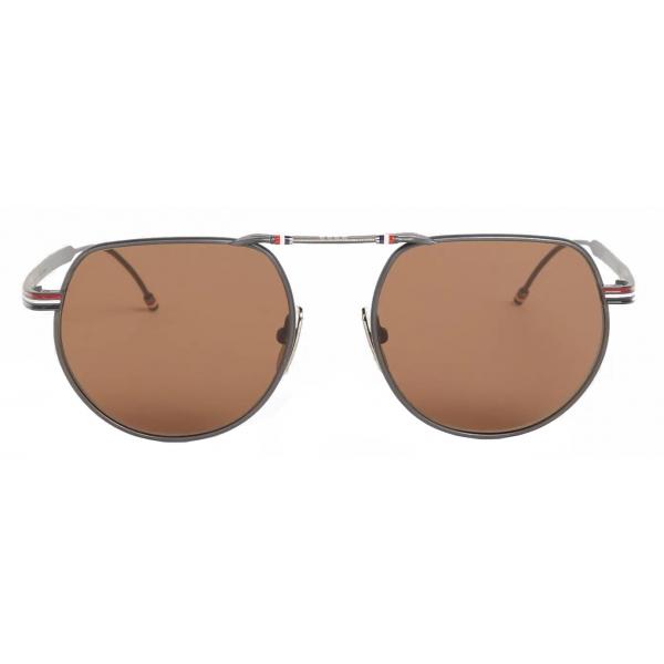 Thom Browne - Occhiali da Sole Aviatore Squadrati Ferro Nero - Thom Browne Eyewear