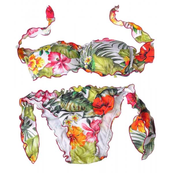 Twinset - Costume Mare a Fascia - Fantasia Floreale - Bikini - Made in Italy - Luxury Exclusive Collection