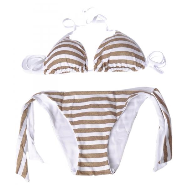 Twinset - Triangolo Mare Imbottito Stampa Righe - Oro/Bianco - Bikini - Made in Italy - Luxury Exclusive Collection