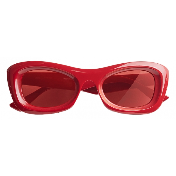 Bottega Veneta - Occhiali da Sole Rettangolari - Rosso - Occhiali da Sole - Bottega Veneta Eyewear