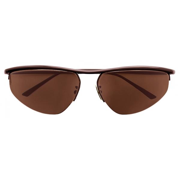 Bottega Veneta - Oval Panthos Sunglasses - Brown - Sunglasses - Bottega Veneta Eyewear