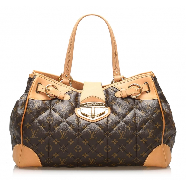 Louis Vuitton Vintage - Monogram Etoile Shopper Bag - Marrone - Borsa in Tela e Pelle di Pitone - Alta Qualità Luxury