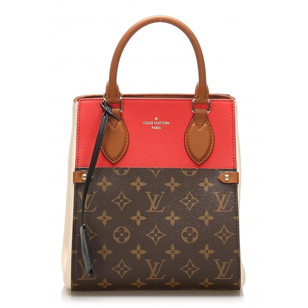 Louis Vuitton Vintage - Monogram Fold Tote PM Bag - Marrone Rosso - Borsa in Pelle e Tela Monogramma - Alta Qualità Luxury