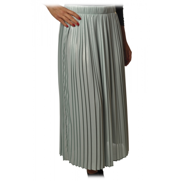 Elisabetta Franchi - Skirt in Pleated Fabric - Aquamarine - Skirt - Made in Italy - Luxury Exclusive Collection