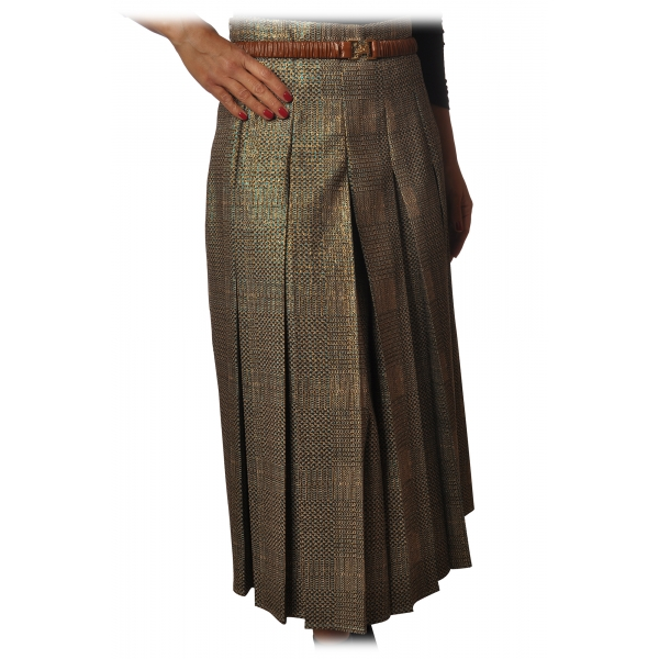 Elisabetta Franchi - Pleated Skirt with Back Detail - Peacock - Skirt - Made in Italy - Luxury Exclusive Collection