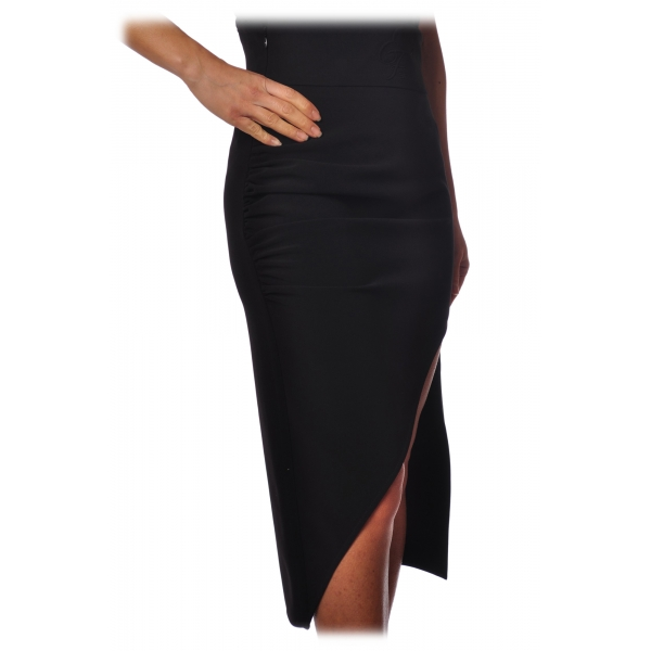 Elisabetta Franchi - Asymmetrical Sheath Skirt - Black - Skirt - Made in Italy - Luxury Exclusive Collection
