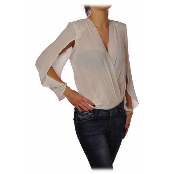 Elisabetta Franchi - Body Blusa Manica Lunga - Avorio - Top - Made in Italy - Luxury Exclusive Collection