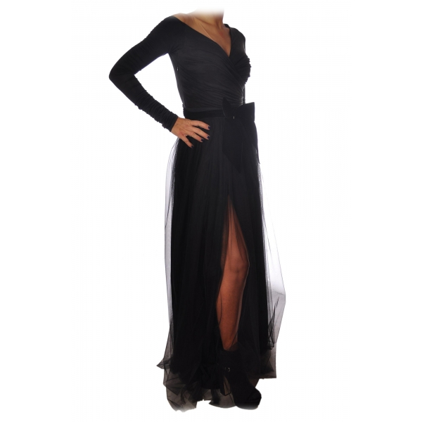 Elisabetta Franchi - Long Dress with Tulle Skirt - Black - Dress - Made in Italy - Luxury Exclusive Collection