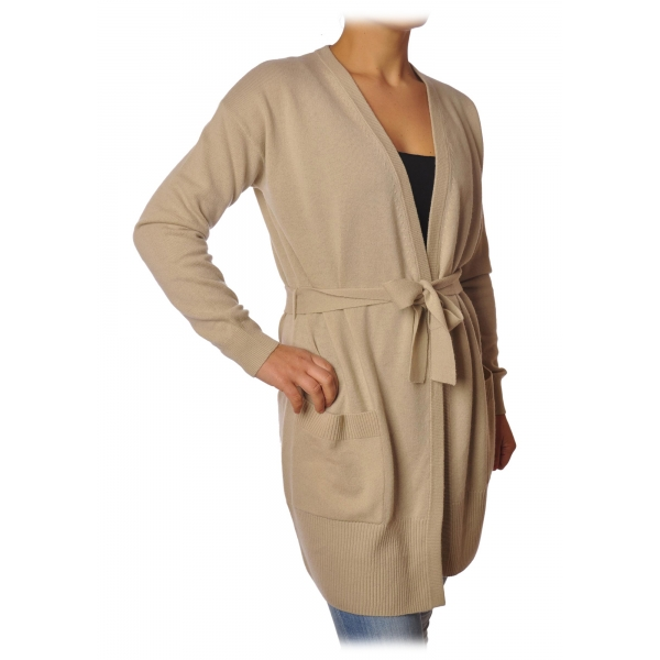 Elisabetta Franchi - Long Cardigan with Belt - Beige - Pullover - Made in Italy - Luxury Exclusive Collection