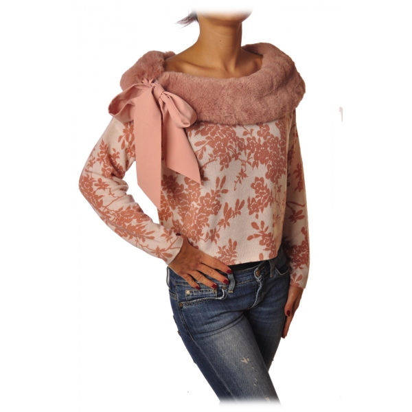 Elisabetta Franchi - Sweater in Pattern with Eco-fur - White/Pink - Pullover - Made in Italy - Luxury Exclusive Collection