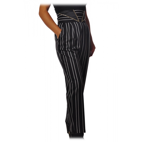 Elisabetta Franchi - Pinstriped Trousers with High Strap - Black - Trousers - Made in Italy - Luxury Exclusive Collection