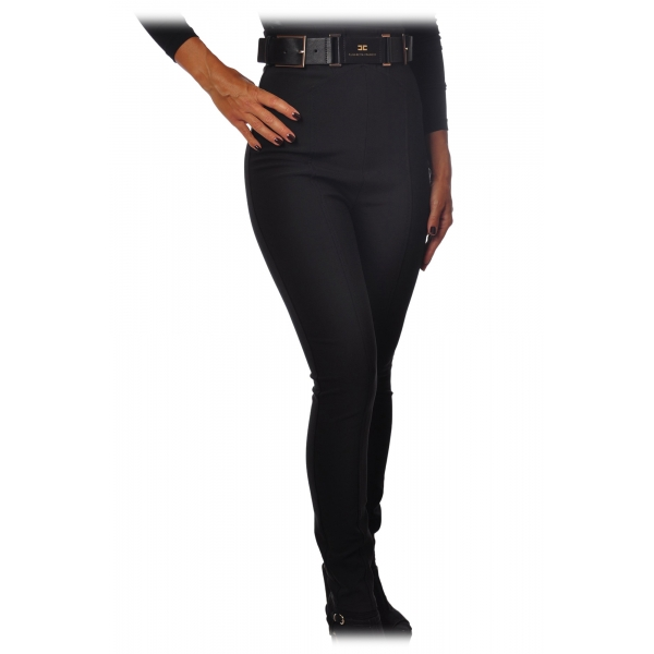 Elisabetta Franchi - Straight Leg Trousers with Belt - Black - Trousers - Made in Italy - Luxury Exclusive Collection