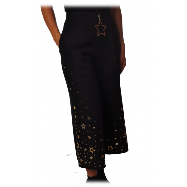 Elisabetta Franchi - Trousers with Star Applications - Black - Trousers - Made in Italy - Luxury Exclusive Collection