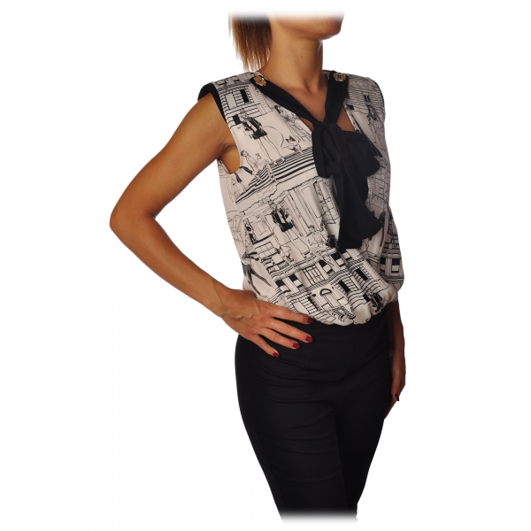 Elisabetta Franchi - Printed Shirt with Sash - Black - Shirt - Made in Italy - Luxury Exclusive Collection