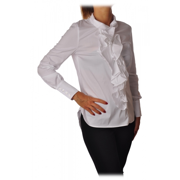 Elisabetta Franchi - Tight Shirt with Ruffles - White - Shirt - Made in Italy - Luxury Exclusive Collection