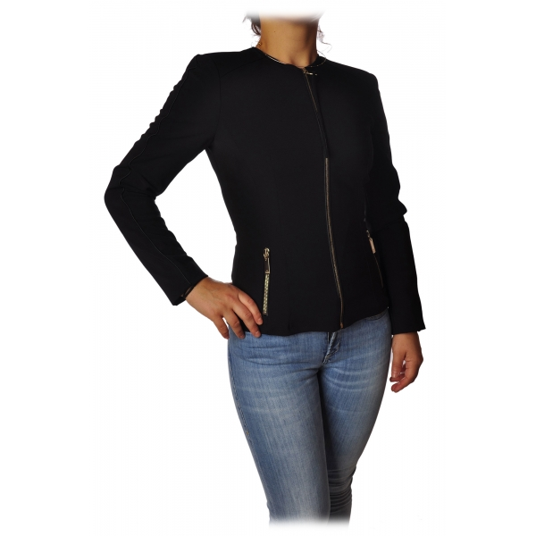 Elisabetta Franchi - Jacket without Collar with Zip - Black - Jacket - Made in Italy - Luxury Exclusive Collection