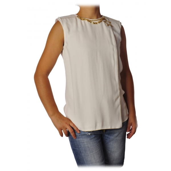 Elisabetta Franchi - Shirt with Star Necklace - Ivory - Top - Made in Italy - Luxury Exclusive Collection