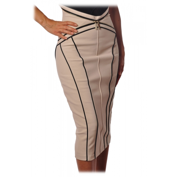 Elisabetta Franchi - Skirt with Contrasting Color Profiles - Vanilla - Skirt - Made in Italy - Luxury Exclusive Collection