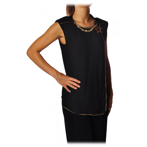 Elisabetta Franchi - Camicia con Collana a Stelle - Nero - Top - Made in Italy - Luxury Exclusive Collection