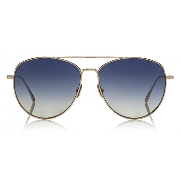 Tom Ford - Elise Sunglasses - Occhiali da Sole a Farfalla in Acetato - FT0569 - Oro Rosa - Tom Ford Eyewear