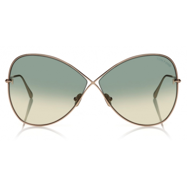 Tom Ford - Nickie Sunglasses - Occhiali da Sole a Farfalla - Oro Rosa Verde - FT0842 - Occhiali da Sole - Tom Ford Eyewear