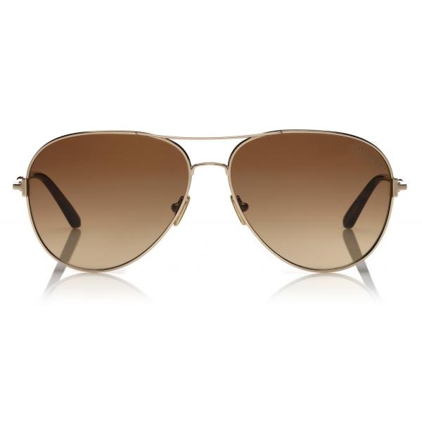 Tom Ford - Neughman Sunglasses - Occhiali da Sole Rotondi - Nero Lucido - FT0882 - Occhiali da Sole - Tom Ford Eyewear