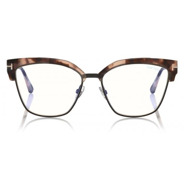Tom Ford - Blue Block Magnetic Glasses - Occhiali da Vista Rettangolare - Havana Scuro - FT5682-B - Tom Ford Eyewear