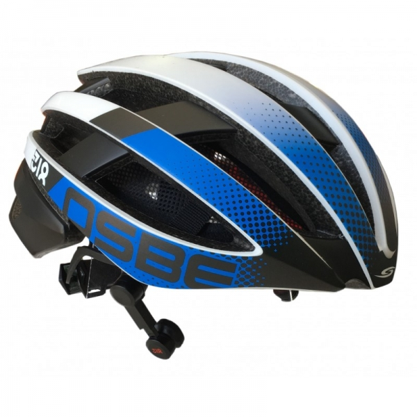 Osbe Italy - Light 318 + IBTHFC - Wireless Bluetooth - Bianco Opaco Gr. Blu - Casco da Bici - Alta Qualità - Made in Italy