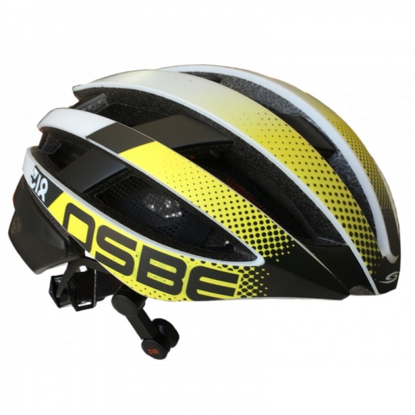 Osbe Italy - Light 318 + IBTHFC - Wireless Bluetooth - Matt White Gr. Yellow - Bicycle Helmet - High Quality - Made in Italy