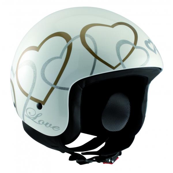 Osbe Italy - Love - Bianco Perla - Casco da Moto - Alta Qualità - Made in Italy