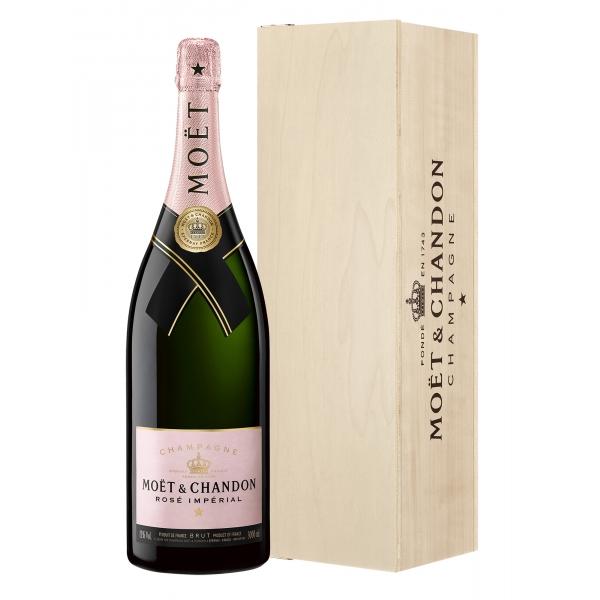 Moët & Chandon Champagne - Rosé Impérial - Jéroboam - Cassa Legno - Pinot Noir - Luxury Limited Edition - 3 l
