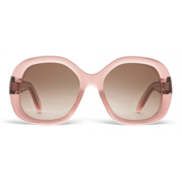 Céline - Round S163 Sunglasses in Acetate - Transparent Rose - Sunglasses - Céline Eyewear
