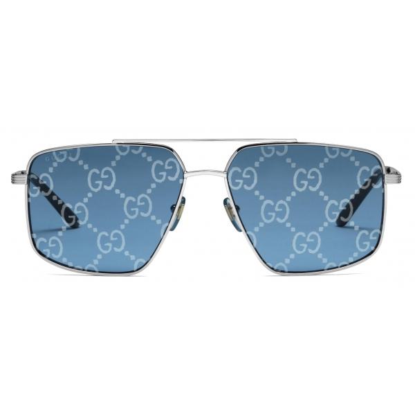 Gucci - Occhiali da Sole Rotondi con Lenti GG - Argento Celeste - Gucci Eyewear