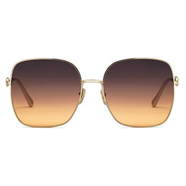 Gucci - Occhiali da Sole Quadrati - Oro Grigio - Gucci Eyewear