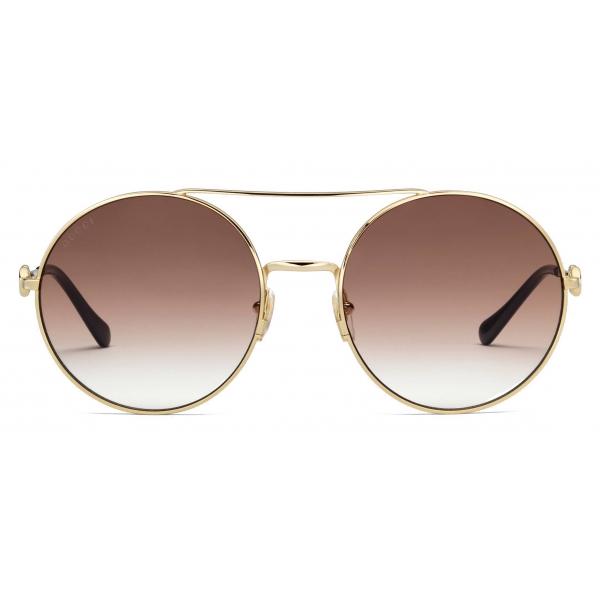 Gucci - Occhiali da Sole Rotondi - Oro Multicolore - Gucci Eyewear