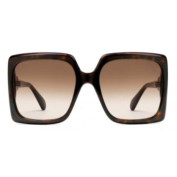 Gucci - Occhiali da Sole Rotondi - Oro Marrone Arancione - Gucci Eyewear