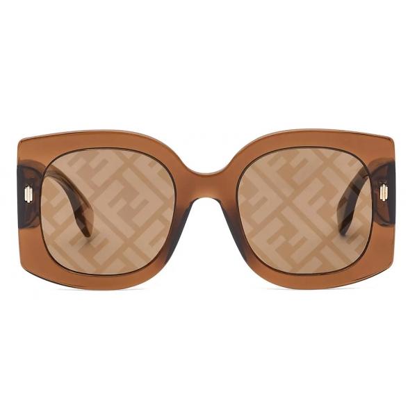 Fendi - Fendi Roma - Occhiali da Sole Quadrata Oversize - Marrone - Occhiali da Sole - Fendi Eyewear